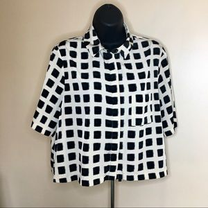 topshop / fuzzy square block button down blouse